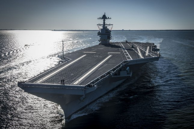 The future USS Gerald R. Ford (CVN 78) sails on its own power for the first time out of Newport News, Virginia on April 8, 2017. Photo by Mass Communication Specialist 2nd Class Ridge Leoni/U.S. Navy