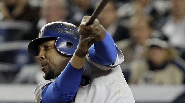 Vladimir Guerrero, shown during the 2010 American League playoffs when he was a member of the Texas Rangers, on Tuesday was given his release from a minor-league contract by the Toronto Blue Jays. UPI/John Angelillo
