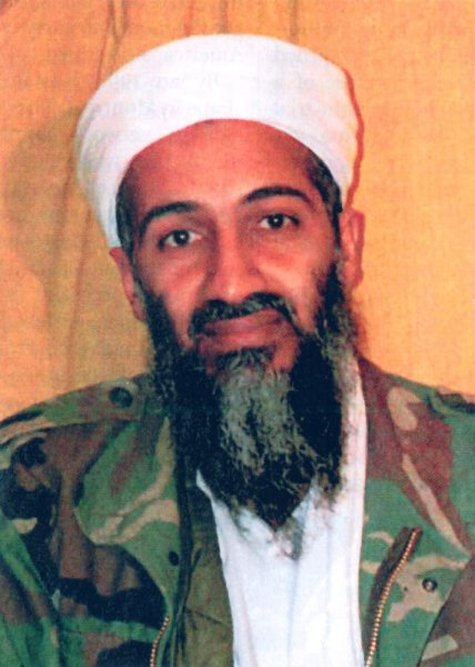 This picture of al-Qaida leader Osama bin Laden was a government exhibit for the sentencing trial of Zacarias Moussaoui, who took the stand in his own defense on April 13, 2006. Moussaoui is a confessed al-Qaida conspirator for the 9/11 attacks on the World Trade Center and Pentagon. (UPI Photo/files)