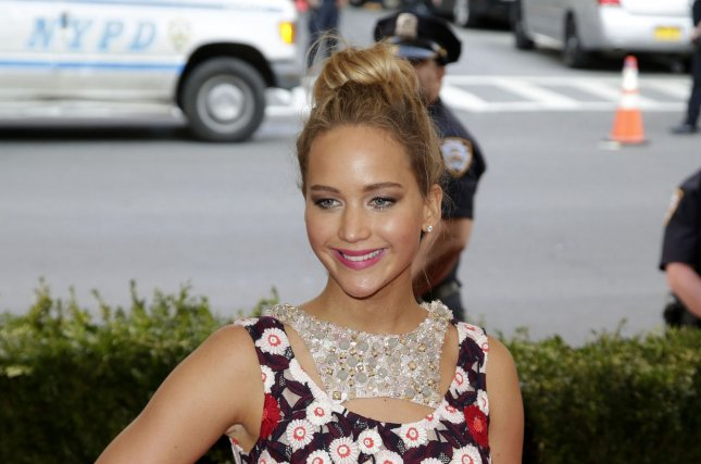 Jennifer Lawrence arrives on the red carpet at the Costume Institute Benefit at The Metropolitan Museum of Art celebrating the opening of China: Through the Looking Glass in New York City on May 4, 2015. File Photo by John Angelillo/UPI