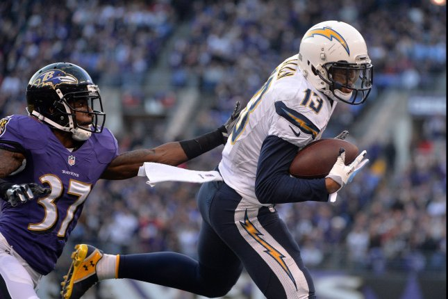 San Diego Chargers wide receiver Keenan Allen brings in a 23-yard touchdown against Baltimore Ravens defensive back Danny Gorrer at M&T Bank Field in Baltimore, Maryland on November 30, 2014. UPI/Kevin Dietsch