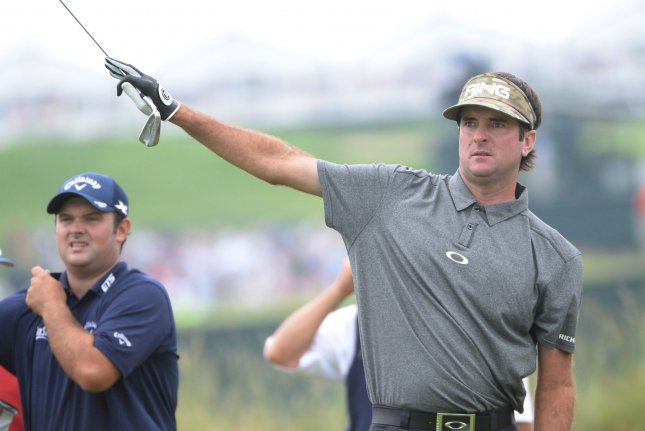 Bubba Watson tees off on the eleventh hole and points right during first round of the U.S. Open golf championship at Oakmont Country Club near Pittsburgh, Pennsylvania on Thursday, June 16, 2016. Photo by Pat Benic/UPI