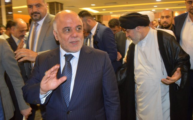 The agreement to resume export­ing Kirkuk crude through the KRG-operated pipeline came after the appointment of a new Iraqi oil min­ister and a visit by KRG Prime Min­ister Nechirvan Barzani to Baghdad to meet with Iraqi Prime Minister Haider al-Abadi, shown here in 2015. Photo by Mohammed Abbas/UPI