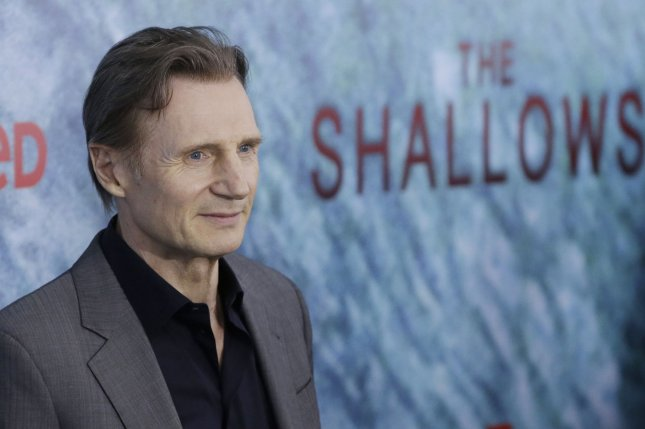 Liam Neeson arrives on the red carpet at The Shallows world premiere on June 21, 2016 in New York City. The actor's movie A Monster Calls was released on DVD this week. File Photo by John Angelillo/UPI