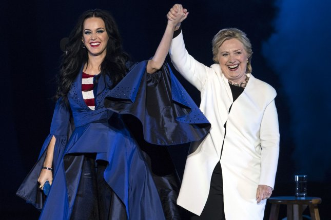 d88d10b7079 Hillary Clinton (R) and Katy Perry attend a rally for Clinton in  Philadelphia on November 5
