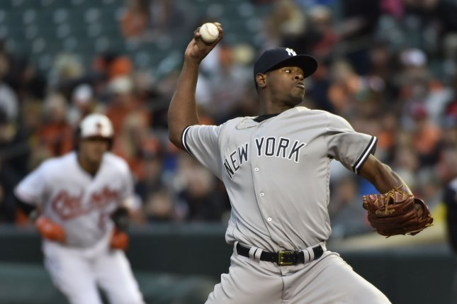 New York Yankees starting pitcher Luis Severino delivers to the Baltimore Orioles during the first inning. File photo by David Tulis/UPI