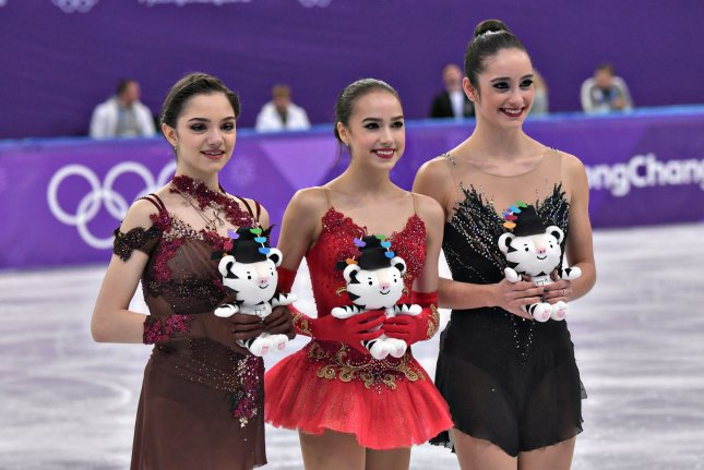 Gold medalist Alina Zagitova (C), silver medalist Evgenia Medvedeva (L), both of Russia, pose with bronze medalist Kaetlyn Osmond of Canada during the Pyeongchang Winter Olympics in February. File Photo by Richard Ellis/UPI