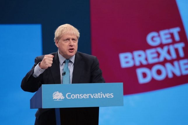 Britain's Prime Minister Boris Johnson delivers the keynote speech at the Conservative Party conference in Manchester Wednesday where he vowed to have Britain divorce the European Union by Oct. 31. Photo by Hugo Philpott/UPI