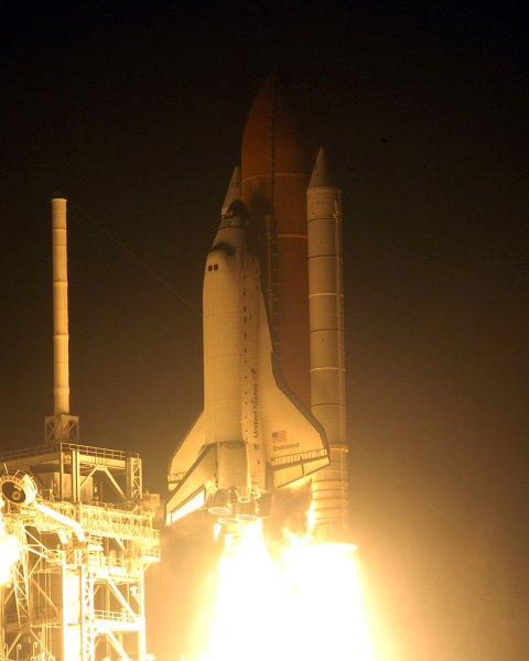 NASA's Space Shuttle Endeavour lifts off from Launch Complex 39A on mission STS 126 at 7:55 PM from the Kennedy Space Center in Florida on November 14, 2008. On this fifteen day mission, a seven person crew will conduct various maintenance tasks to improve operations of the station and in addition will deliver components to enhance the facility for future crews.(UPI Photo/Joe Marino - Bill Cantrell)