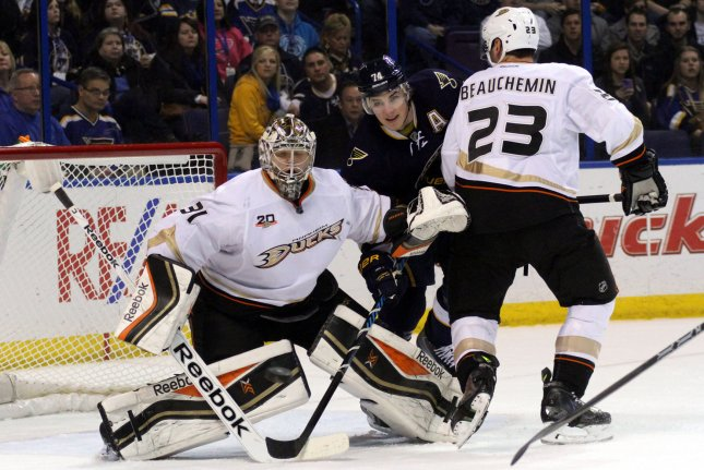 Anaheim Ducks goaltender Frederik Andersen(31) looks for a shot with St.louis Blues T.J. Oshie (74) in the first period of their game at the Scottrade Center in St. Louis on Jaunary 18, 2014. UPI/ Rob Cornforth