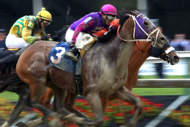 Homeboykris runs, on his way to winning the first race at Pimlico Race Course in Baltimore, Maryland on May 21, 2016. Homeboykris collapsed and died on his way from the winners circle to the barn after the race. Photo by Mark Abraham/UPI