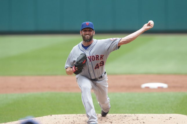 Former New York Mets starting pitcher Jon Niese delivers a pitch to the St. Louis Cardinals in the second inning at Busch Stadium in St. Louis on July 19, 2015. Photo by Bill Greenblatt/UPI