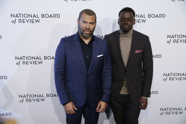 Get Out collaborators Jordan Peele and Daniel Kaluuya arrive on the red carpet at the National Board of Review Annual Awards Gala in New York City on January 9. Peele is also up for two Directors Guild of America Awards. Photo by John Angelillo/UPI
