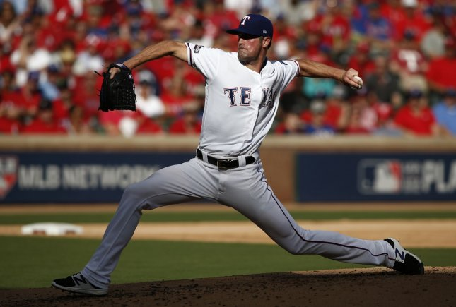 Cole Hamels and the Texas Rangers take on the Houston Astros on Thursday. Photo by Mike Stone/UPI