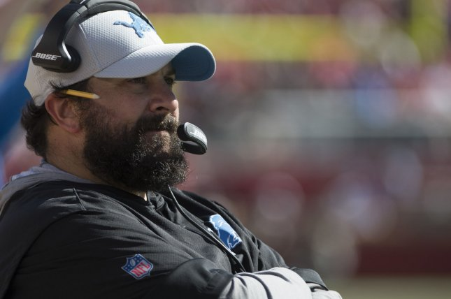 Detroit Lions coach Matt Patricia watches from the sidelines during a game against the San Francisco 49ers on September 16, 2018. Photo by Terry Schmitt/UPI