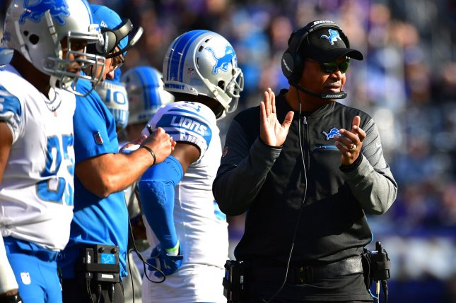Former Detroit Lions head coach Jim Caldwell is a candidate for the Cleveland Browns' coaching vacancy. Photo by Kevin Dietsch/UPI