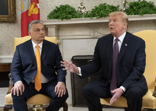 President Donald Trump meets with Hungary Prime Minister Viktor Orban in the Oval Office of White House in Washington, D.C. on Monday. Trump praised Orban as tough and a highly respected leader. Photo by Chris Kleponis/UPI