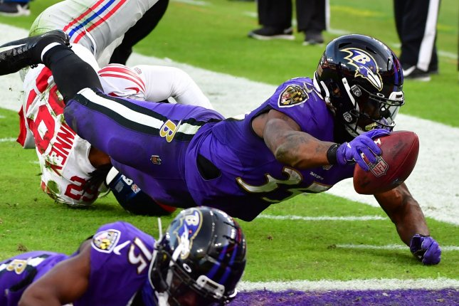 Baltimore Ravens running back Gus Edwards (35), shown Dec. 27, 2020, agreed to a two-year extension with the Ravens. File Photo by David Tulis/UPI