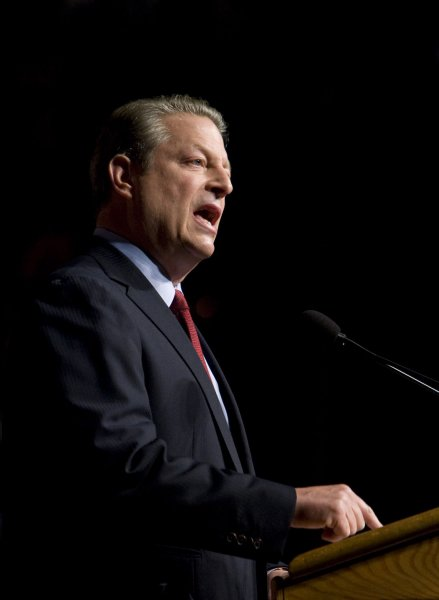 Former Vice President Al Gore speaks about his vision for the future of America's energy needs during an event held by the 'We' Campaign' in Washington on July 17, 2008. Gore called for the United States to commit to producing 100 percent of its electricity from renewable energy and carbon-free sources within 10 years. (UPI Photo/Patrick D. McDermott)