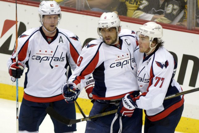 Washington Capitals left wing Alex Ovechkin (8) celebrates with center Nicklas Backstrom (19) and right wing T.J. Oshie (77). Photo by Archie Carpenter/UPI