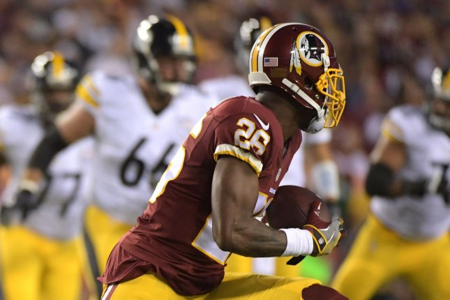 Washington Redskins cornerback Bashaud Breeland (26) intercepts a pass intended for Pittsburgh Steelers wide receiver Eli Rogers (17) in the first quarter at FedEx Field in Landover, Maryland on September 12, 2016. File photo by Kevin Dietsch/UPI