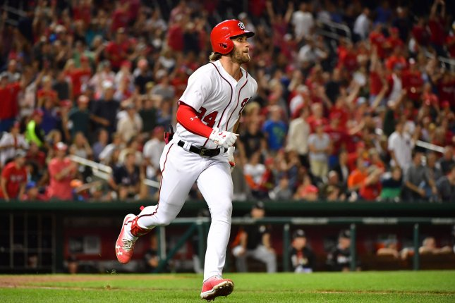 Washington Nationals right fielder Bryce Harper (34) connects for a double against the Miami Marlins in the sixth inning at Nationals Park in Washington, D.C. on August 10, 2017. File photo by Kevin Dietsch/UPI