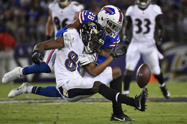 Buffalo Bills cornerback E.J. Gaines (28) blocks the pass to Baltimore Ravens wide receiver Quincy Adeboyejo (88) during the first half of an NFL preseason game at M&T Bank Stadium in Baltimore, Maryland, August 26, 2017. File photo by David Tulis/UPI