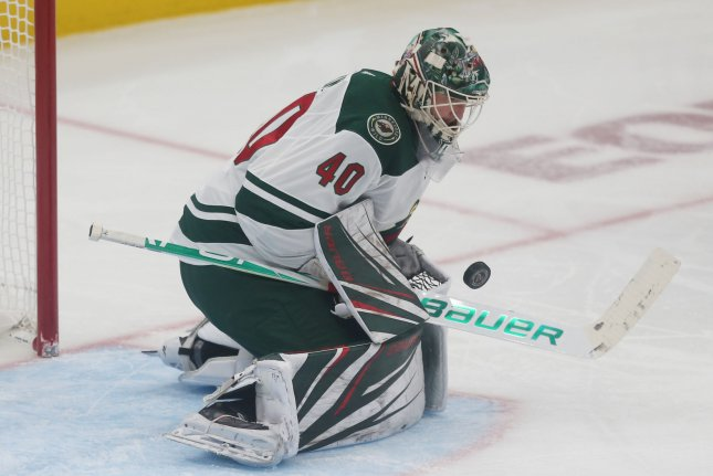 Devan Dubnyk and the Minnesota Wild face off with the Washington Capitals on Tuesday. Photo by Bill Greenblatt/UPI