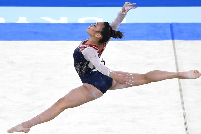 Team USA's Suni Lee performs her floor routine in the women's all-around individual final at the 2020 Summer Games on Thursday at Ariake Gymnastics Centre in Tokyo. Photo by Mike Theiler/UPI