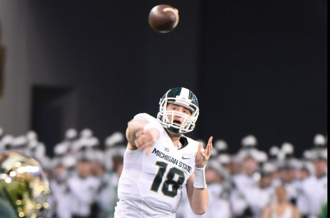 Michigan State's Connor Cook threw for a career high 398 yards and four touchdowns to lead the Spartans past the Indiana Hoosiers. File photo Ian Halperin/UPI