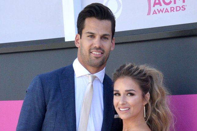 Jessie James Decker (R), pictured with Eric Decker, spent her 30th birthday with family and friends Thursday. File Photo by Jim Ruymen/UPI