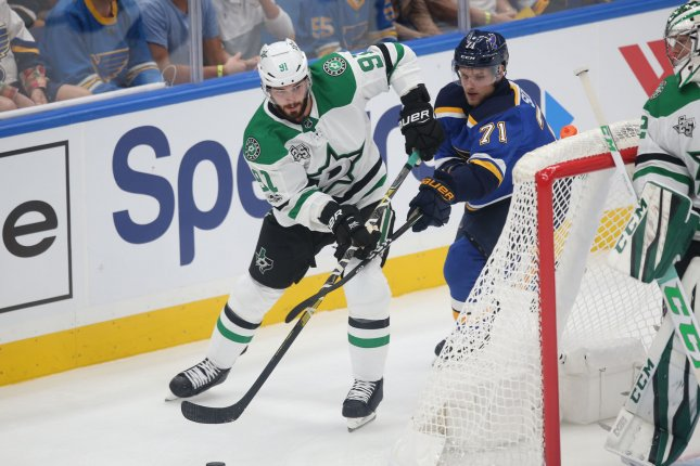 St. Louis Blues' Vladimir Sobotka uses his stick to stop Dallas Stars' Tyler Seguin from shooting the puck in the first period on October 7 at the Scottrade Center in St. Louis. File photo by BIll Greenblatt/UPI