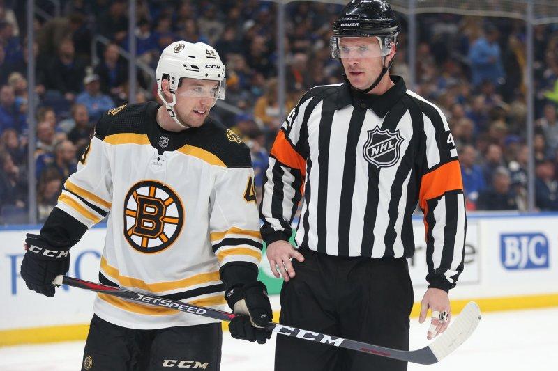 Boston Bruins defenseman Matt Grzelcyk suffered a concussion when St. Louis Blues forward Oskar Sundqvist boarded him in Game 2. Sundqvist served a one-game suspension for the hit. File Photo by Bill Greenblatt/UPI