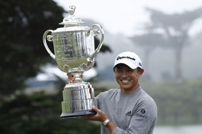 Collin Morikawa holds the Wanamaker Trophy after winning the 102nd PGA Championship on Sunday at TPC Harding Park in San Francisco. Photo by Peter DaSilva/UPI