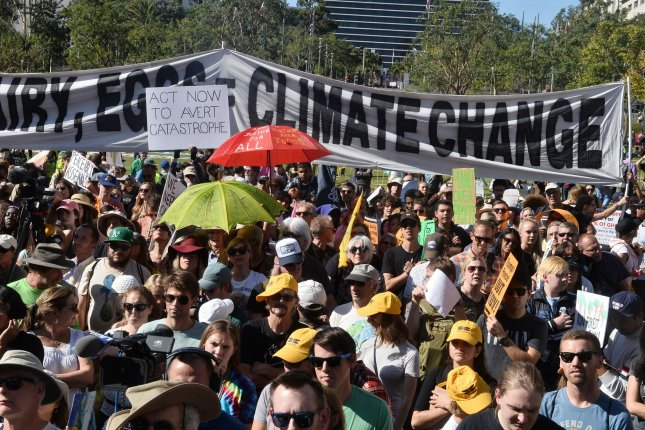 While current efforts may not be good enough to stave off global climate change, researchers say that continued pressure on governments from protests could help to keep leaders moving in the right direction. File Photo by Jim Ruymen/UPI