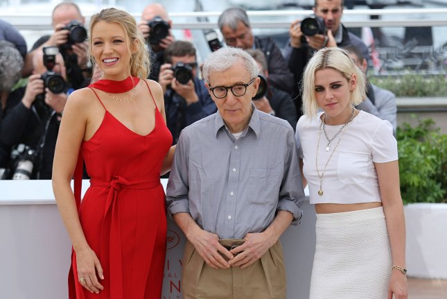 From left to right, Blake Lively, Woody Allen and Kristen Stewart appear at a Cannes International Film Festival photocall for Café Society on Wednesday. Photo by David Silpa/UPI