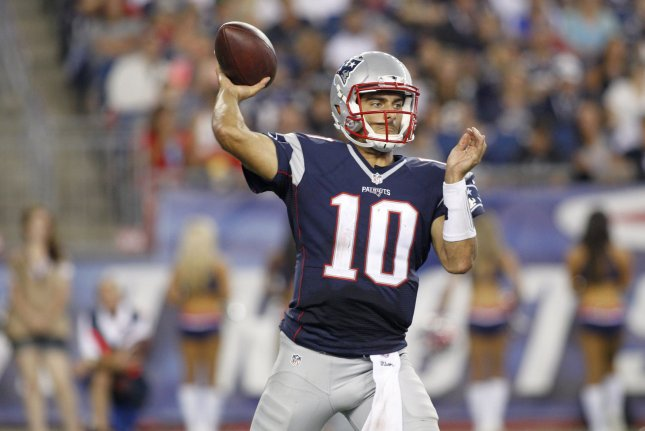 New England Patriots quarterback Jimmy Garoppolo (10) throws a pass in the third quarter of the preseason game against the Green Bay Packers at Gillette Stadium in Foxborough, Massachusetts. File photo by Matthew Healey/UPI