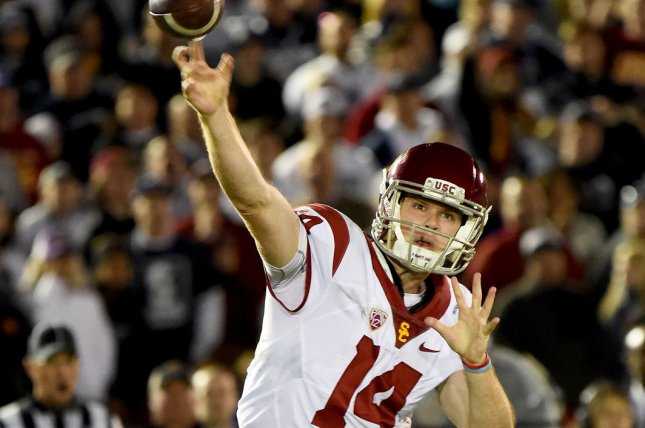 USC Trojans quarterback Sam Darnold (14) throws down the field against the Penn State Nittany Lions during the 2017 Rose Bowl in Pasadena, California on January 2, 2017. File photo by Juan Ocampo/UPI