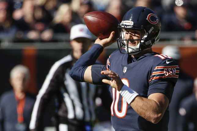 Chicago Bears quarterback Mitchell Trubisky (10) looks to pass the ball against the New England Patriots during the first half on October 21, 2018 at Soldier Field in Chicago. Photo by Kamil Krzaczynski/UPI