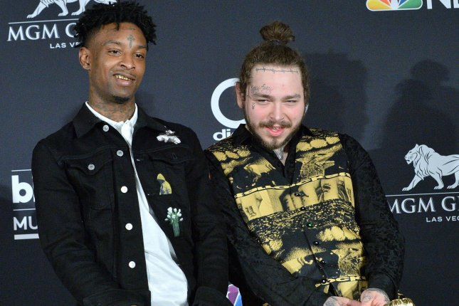 21 Savage (L), pictured with Post Malone, spoke out in a new interview following his ICE arrest. File Photo by Jim Ruymen/UPI