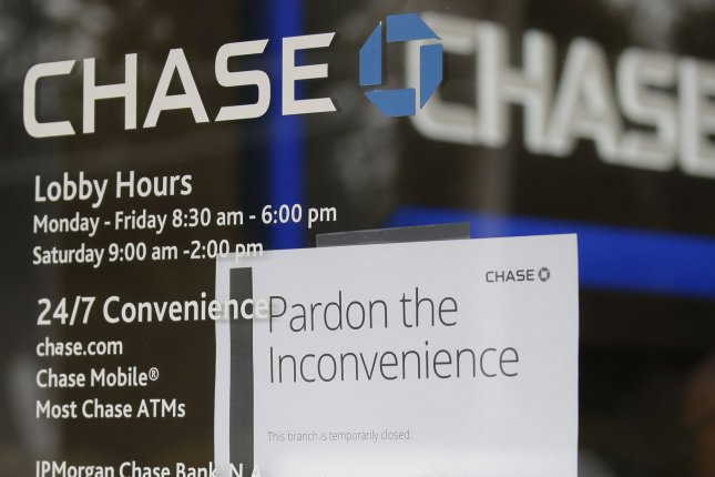 A closed sign hangs on the window of a Chase Bank in New Rochelle, N.Y, on March 11 in the early phase of the coronavirus outbreak. File Photo by John Angelillo/UPI