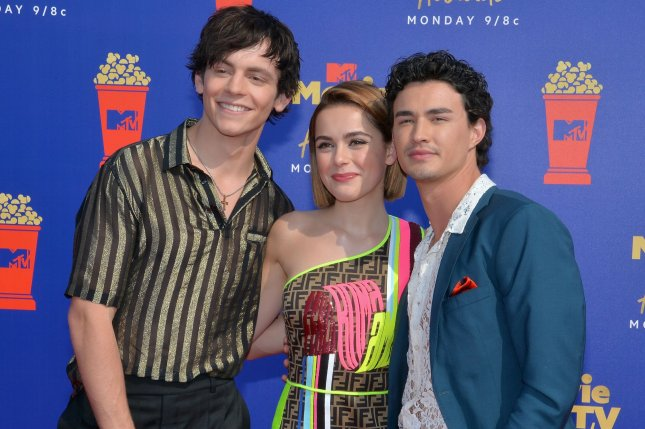 Chilling Adventures of Sabrina stars, left to right, Ross Lynch, Kiernan Shipka and Gavin Leatherwood arrive for the MTV Movie & TV Awards on June 2019. Netflix has canceled the series, which will end with a fourth season. File Photo by Jim Ruymen/UPI