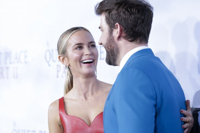 Emily Blunt (L) and John Krasinski arrive at the A Quiet Place Part II world premiere in 2020 in New York City. The movie was No. 1 at the North American box office this weekend. File Photo by John Angelillo/UPI