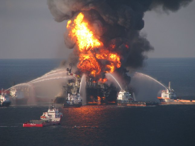 Fire boat response crews battle the blazing remnants of offshore oil rig Deepwater Horizon, off the coast of New Orleans, Louisiana on April 21, 2010. 11 workers were killed after the oil rig exploded on April 20. UPI/U.S. Coast Guard