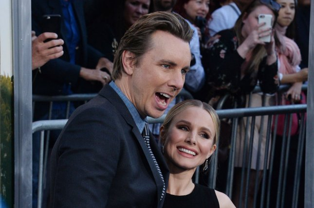 Kristen Bell (R) and Dax Shepard attend the Los Angeles premiere of CHiPs on March 20. File Photo by Jim Ruymen/UPI