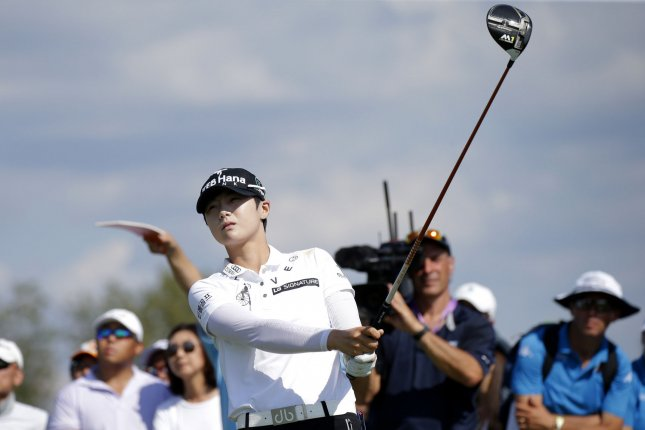 Rookie Sung Hyun Park of South Korea hits a tee shot on the 10th hole at Trump National Golf Club in the final round of the LPGA U.S. Women's Open Championship in Bedminster, NJ on July 14, 2017. Park won her first major with a score of 11 under par. File photo by John Angelillo/UPI