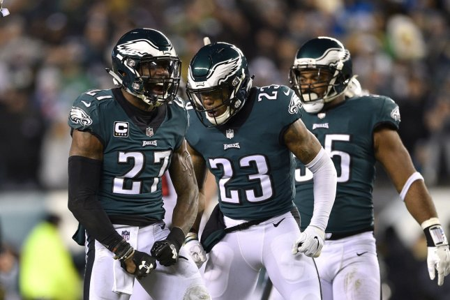 Philadelphia Eagles safety Malcolm Jenkins (27) reacts after a tackle with Rodney McLeod (23) during the second quarter of an NFC divisional playoff game against the Atlanta Falcons on January 13 at Lincoln Financial Field in Philadelphia. Photo by Derik Hamilton/UPI