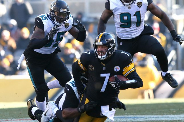 Pittsburgh Steelers quarterback Ben Roethisberger is sacked by Jacksonville Jaguars' Marcell Dareus with teammates Larentee McCray (L) and Yannick Ngakoue in pursuit on January 14 at Heinz Field in Pittsburgh. Photo by Aaron Josefczyk/UPI