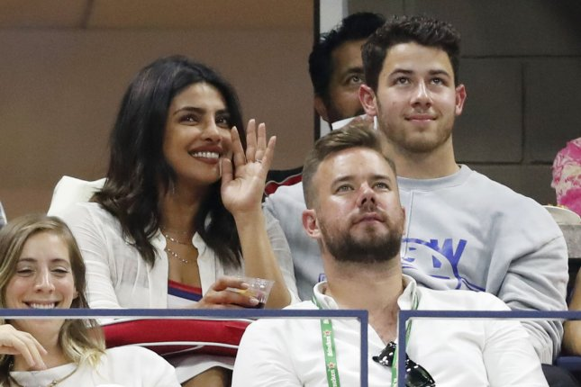 Priyanka Chopra (L), pictured with Nick Jonas, was fêted by family and friends ahead of her wedding. File Photo by John Angelillo/UPI