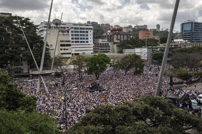 Opposition Venezuelan leader Juan Guaido attends a rally in Caracas, Venezuela, on March 4. Photo by Marcelo Perez/UPI